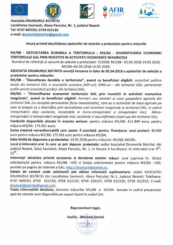 Apel simplificat Masura M1-6B martie 2018
