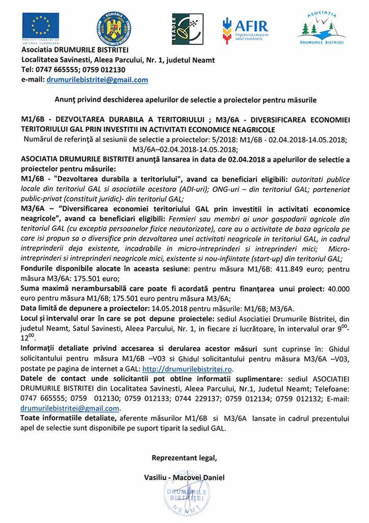Lansare apel selectie octombrie 2018 M8-1A
