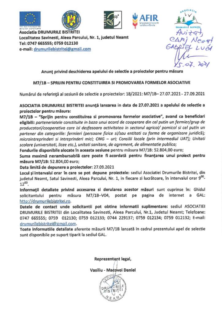 Anunt simplificat lansare apel M7.1B_ avizat 15.07.2021